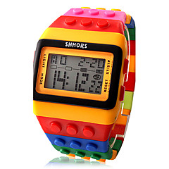 Naisten Muotikello Kello Wood Digitaalinen Watch Digitaalinen Hälytys Kalenteri Ajanotto LCD Plastic Bändi Karkki Tyylikäs Monivärinen