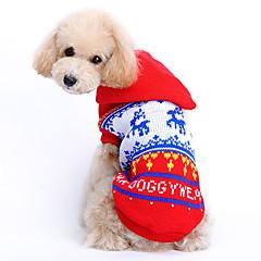 お買い得  猫の服-ネコ 犬 セーター パーカー 犬用ウェア トナカイ レッド ウール コスチューム ペット用 男性用 女性用 キュート クリスマス