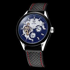 お買い得  大特価腕時計-男性用 スケルトン腕時計 自動巻き 耐水 透かし加工 シリコーン バンド ハンズ ブラック - ホワイト ブラック