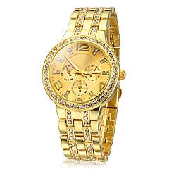 Женские Модные часы Имитация Алмазный Кварцевый Нержавеющая сталь Группа Блестящие Золотистый