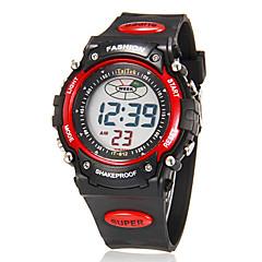 남성용 손목 시계 디지털 시계 디지털 알람 달력 크로노그래프 LCD 고무 밴드 블랙