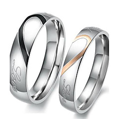 cheap Men's Jewelry-Women's Couple Rings Engagement Ring - Stainless Steel Heart, Love Ladies, Bridal 5 / 6 / 7 / 8 / 9 Silver For Wedding Party Birthday / 2pcs