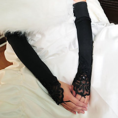 abordables Bijoux pour Femme-Satin Elastique / Coton Longueur Poignet / Longueur Opéra Gant Charme / Elégant / Gants de Mariée Avec Broderie / Couleur Unie