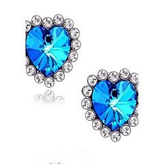 preiswerte Ohrringe-Synthetischer Saphir Ohrstecker - Strass, Diamantimitate Herz, Liebe Luxus, Geflochten Für Hochzeit / Party / Alltag
