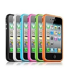 Недорогие Кейсы для iPhone-ТПУ бампер кадр случае с металлическими пуговицами для iPhone 4 / 4s (ассорти цветов)