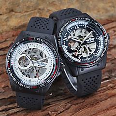 Heren Skeleton horloge mechanische horloges Rekenliniaal Hol Gegraveerd Automatisch opwindmechanisme Silicone Band Luxueus Zwart
