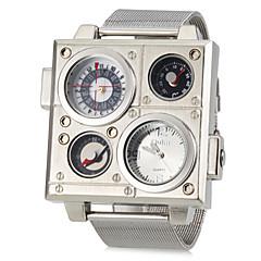preiswerte Herrenuhren-Herrn Militäruhr Thermometer Kompass Band Analog Weiß Schwarz