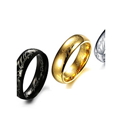 Rings Fashion Stainless Steel Gold/Silver Band Rings 3 Colors Letter Rings Black Jewelry  for New Year Gifts