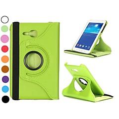 Недорогие Чехлы и кейсы для Galaxy Tab 3 Lite-Кейс для Назначение SSamsung Galaxy Кейс для  Samsung Galaxy со стендом / Флип / Поворот на 360° Чехол Однотонный Кожа PU для Tab 3 Lite