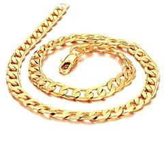 Недорогие Ожерелья-Муж. Ожерелья-цепочки - Позолота 18К, Позолота Золотой Ожерелье Бижутерия Назначение Свадьба, Для вечеринок, Повседневные