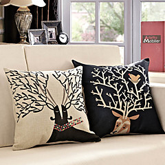 Zestaw 2 Kreskówka Caribou Wzór dekoracyjne poduszki Covers