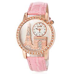 billige Tilbud på ure-Dame Modeur Japansk Quartz Afslappet Ur PU Bånd Glitrende Eiffeltårnet Sort Hvid Rød Brun Pink Lilla