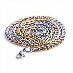 Недорогие Ожерелья-мужская мода всего матча золото и серебро титана стали ожерелья цепи