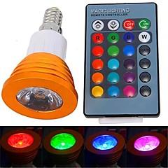 3W E14 LED 스팟 조명 1 고성능 LED 180 lm RGB 리모컨 작동 AC 85-265 V