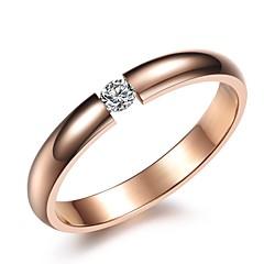 preiswerte Ringe-Damen Bandring - Strass, Titanstahl Liebe Geburtssteine 5 / 6 / 7 / 8 Schwarz / Silber / Rose Für Hochzeit Party Geschenk