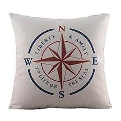nautische kompas katoen / linnen decoratieve kussensloop