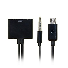 voordelige USB-kabels-30pin female naar micro usb 5pin male data belast met audio kabel voor s3 / s4 / s5 / note2 / note3& tablet gratis verzending