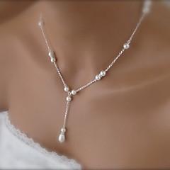 shixin® divat szép fehér gyöngyház nyaklánc (1 db)