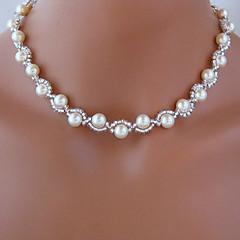 お買い得  ネックレス-ストランドネックレス  -  人造真珠 ホワイト ネックレス ジュエリー 用途 結婚式, パーティー, 日常, カジュアル