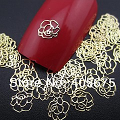 50pcs forma color de rosa rebanada decoración del arte del clavo de metal