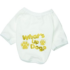 abordables Accesorios y Ropa para Perros-Gato Perro Camiseta Ropa para Perro Transpirable Letra y Número Blanco Disfraz Para mascotas