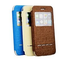 Для Кейс для iPhone 6 / Кейс для iPhone 6 Plus с окошком Кейс для Чехол Кейс для Один цвет Твердый Искусственная кожаiPhone 6s Plus/6