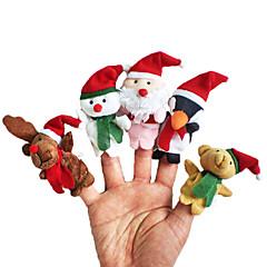 Pacynka na palec Zwierzęta Zabawki Kostiumy Św. Mikołaja Elk Bałwan Święta Zabawki Mówić Dziewczyny Chłopcy 5 Sztuk