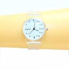 preiswerte Tolle Angebote auf Uhren-Frauen Englisch kleinen frisch und einfach transparent Band Quarzentsprechungsarmbanduhr