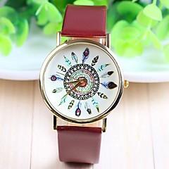 preiswerte Tolle Angebote auf Uhren-Damen Quartz Armbanduhr Schlussverkauf PU Band Blume Freizeit Modisch Schwarz Weiß Braun