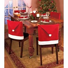 1pc 크리스마스와 파티 장식 산타 빨간 모자 의자 다시 커버