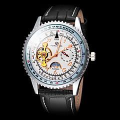 FORSINING Heren mechanische horloges Polshorloge Automatisch opwindmechanisme Rekenliniaal Leer Band Luxueus Zwart Wit Zwart