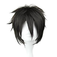 Cosplay Perukları Sword Art Online Kirito Siyah Short / Düz Anime Cosplay Perukları 32 CM Isı Dirençli Fiber Erkek