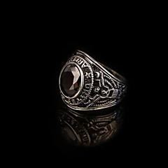 お買い得  指輪-男性用 合成サファイア ジェムストーン ナチュラルブラック バンドリング ステートメントリング 指輪  -  ステンレス鋼, チタン鋼, 合金 ステートメント, ヴィンテージ, カジュアル レッド / グリーン / ブルー 用途 贈り物