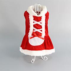 お買い得  猫の服-ネコ 犬 ドレス 犬用ウェア レッド コットン コスチューム ペット用 女性用 結婚式 クリスマス