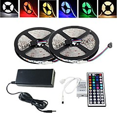 cheap LED Strip Lights-ZDM® 2x5M Light Sets 2*150 LEDs 1 12V 6A Adapter 1 44Keys Remote Controller 1 AC Cable RGB Cuttable Waterproof Self-adhesive Decorative