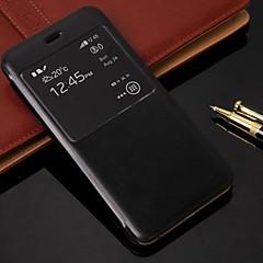 Для Кейс для iPhone 6 / Кейс для iPhone 6 Plus со стендом / с окошком / Флип Кейс для Чехол Кейс для Один цвет Твердый Искусственная кожа