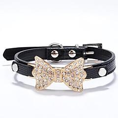 お買い得  犬用首輪/リード/ハーネス-ネコ 犬 カラー ラインストーン PUレザー ローズ レッド ブルー ピンク ゴールデン