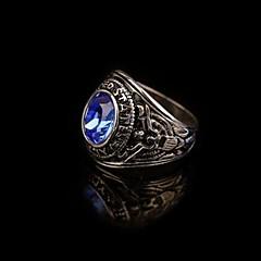 お買い得  指輪-男性用 合成サファイア / ジェムストーン ナチュラルブラック バンドリング / ステートメントリング / 指輪 - ステンレス鋼, 合金 ヴィンテージ, カジュアル, パンク レッド / グリーン / ブルー 用途 贈り物 / チタン鋼