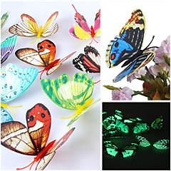 3D emulational 빛나는 나비 PVC 벽 스티커 벽 아트 데칼 (임의의 색상, 12 개 세트)