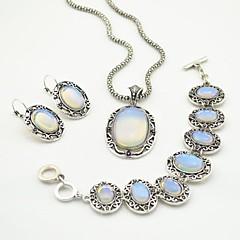 abordables Juegos de Joyería-plata antigua toonykelly vendimia piedra transparente (pendiente y collar y pulsera) de la joyería de