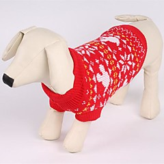 お買い得  犬用ウェア&アクセサリー-ネコ 犬 セーター 犬用ウェア クリスマス スノーフレーク柄 レッド コスチューム ペット用