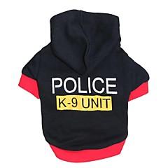 お買い得  犬用ウェア&アクセサリー-ネコ 犬 パーカー 犬用ウェア 警察/軍隊 ブラック コットン コスチューム ペット用 男性用 女性用 ファッション