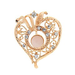 broches de moda romántica forma de corazón de diamante de imitación de color al azar