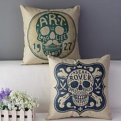 zestaw 2 czaszki bawełna / len drukowane poduszki dekoracyjne pokrywy