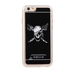 Для Кейс для iPhone 6 / Кейс для iPhone 6 Plus Мигающая LED подсветка / С узором Кейс для Задняя крышка Кейс для Череп Твердый PCiPhone