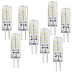cheap LED Bulbs-8pcs 1 W 100-120 lm G4 LED Corn Lights T 24 LED Beads SMD 3014 Dimmable Warm White 12 V