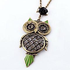 preiswerte Halsketten-Frauen Retro Diamant-Halskette Rose Eule
