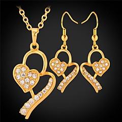 お買い得  ジュエリーセット-u7®heartネックレスイヤリング18K本物の金プラチナはドロップイヤリングペンダントネックレスファッションジュエリーセットメッキ