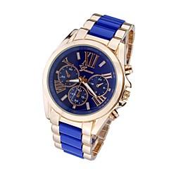 Heren Dress horloge Kwarts Roestvrij staal Band Luxueus Zwart Wit Blauw Zilver Goud Goud Goud/Wit Zilver-Zwart Goud/blauw Zilver-blauw