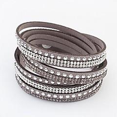 preiswerte Armbänder-Damen Kristall Wickelarmbänder / Lederarmbänder - Leder Knopf Europäisch, Modisch Armbänder Grün / Blau / Rosa Für Party